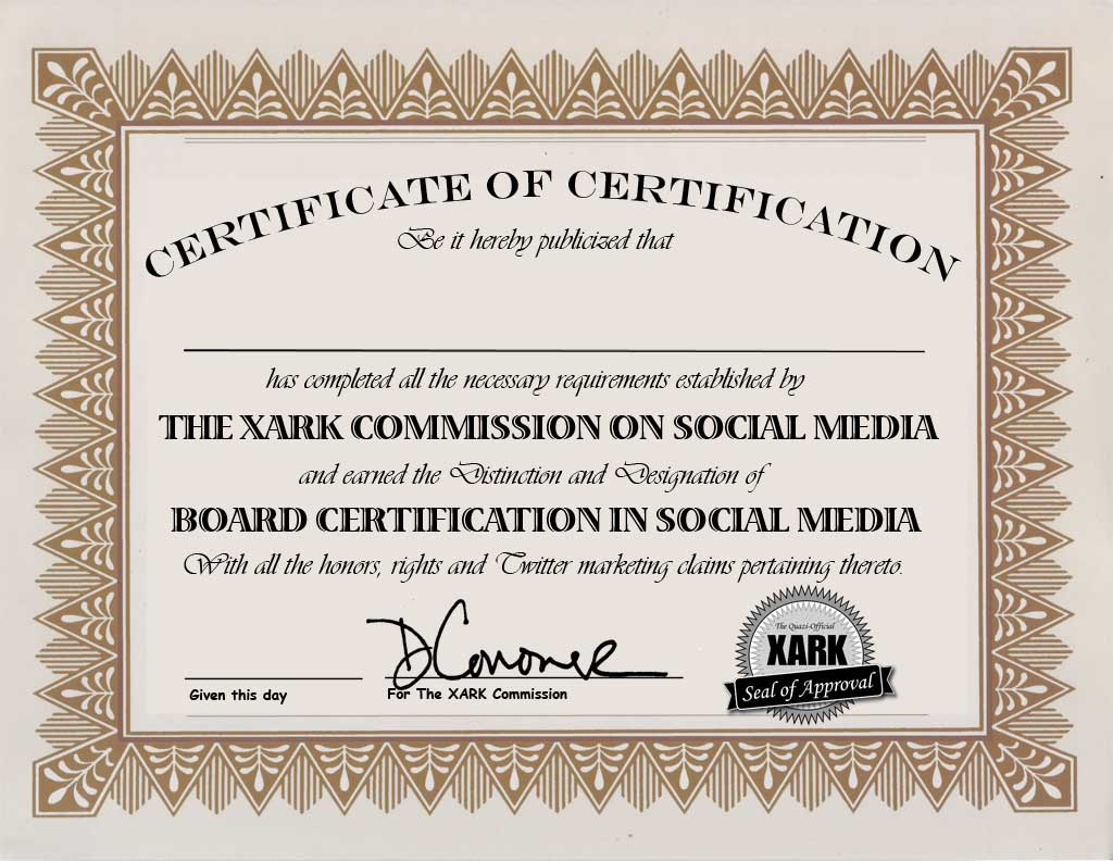 Xark Board Certification In Social Media